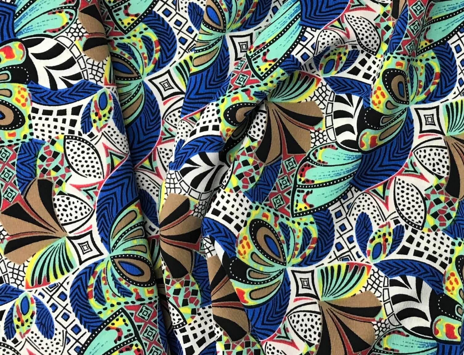 silki wzory niebieskie piora