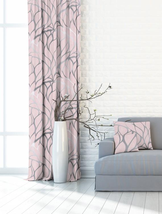tkanina zaslonowa roz pudrowy z szarym